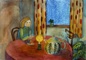 akvarelli jossa nainen ja kissa pöydän ääressä